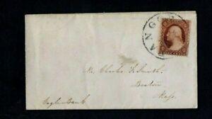 COVER. 1850/60s. 3c RED 'WASHINGTON' STAMP 'BANGOR, MAINE' TO EAGLE BANK, BOSTON