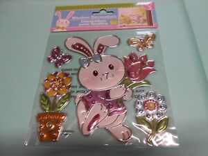 NEW FOIL Spring Easter Flowers Girl Bunny Window Sticker Clings Decorations 5 pc