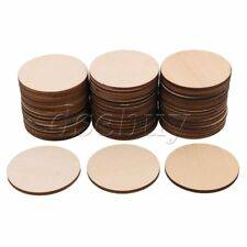 50PCS 50MM Unfinished Round Wood Cutouts Circles Chips for Craft Project