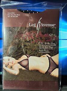 Leg Avenue Style 81064 Black 2 Pc Pink Polka Dot Mesh Bra Top & Panty OSFM