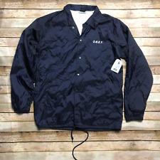 OBEY Blue Windbreaker Coach Jacket Wind Navy Logo On Back L Lined Drawstring