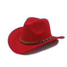 045cabb49244 Kid Child Wool Felt Western Cowboy Hat Wide Brim Cowgirl Braid Leather Band  54cm
