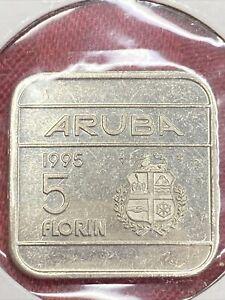 1995~~Aruba 5 Florin Square Coin