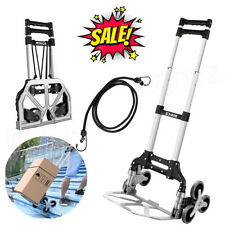 Folding Hand Truck 165lbs Capacity Stair Climbing Portable Cart For Home Stock