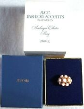 Vintage Avon 1972 Arabesque Cluster Ring in Box Size Small - Pink Gold Jewel