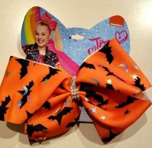 NEW JOJO SIWA orange HALLOWEEN HAIR BOW black bats silver stars girls women CUTE