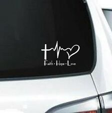 B125 Faith Cross Hope Heartbeat  Love heart  Decal  vinyl decal for car truck