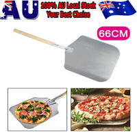 Wooden Handle 66cm Aluminum Pizza Peel Shovel Paddle Pancake Oven Baking AU