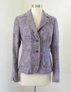 Ann Taylor Purple Floral Print Wool Blend Blazer Jacket Size 2 Women's