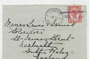 1911 Gladstone Port straight line cancel on cover to Wales, UK