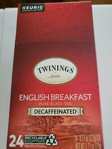 24 Twinings DECAF ENGLISH BREAKFAST Black Tea K cup Keurig drink it day or night