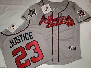 Majestic 1995 Atlanta Braves DAVID JUSTICE World Series Baseball JERSEY Gray New