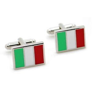 ITALY FLAG CUFFLINKS PAIR High Quality NEW w GIFT BAG  Jewelry Men World Italian