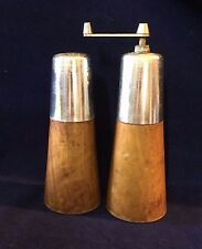 "Salt Shaker Pepper Grinder Wood 6 3/4"" Tall Made in Italy Vintage"