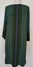 MAGGY LONDON Green/Blue Print Stretch Knit Tunic/Dress Size 4/XS
