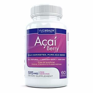 Pure Acai Berry Capsules Natural Fat Burner for Weight Loss, Detox & Cleanse