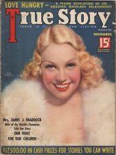 True Story Magazine December 1935, Maria Gambarelli Cover, James Braddock
