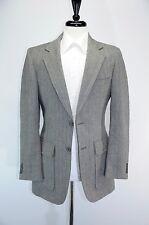 VTG Herringbone Tweed Black White Gray Wool Patch Pocket Horn Buttons Blazer 36L