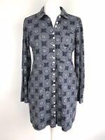 Brakeburn Shirt Dress Size 10 Tunic Jersey Geometric Print Pockets Preppy