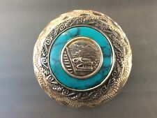 VTG Mexican Signed Silver Turquoise MAYAN Aztec El Castillo Zodiac Pendant Pin