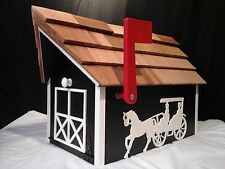 Amish Handmade Handcrafted Rural Mailbox w Flag USPS Black Horse & Buggy