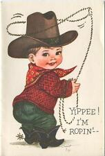 VINTAGE COWBOY BOY CHILD BROWN HAT BLACK BOOTS LASSO DENIMS BIRTHDAY ART CARD