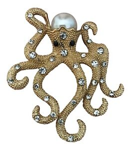 Brushed Gold Crystal and Pearl Set Octopus Brooch Octopus Broach Squid Brooch