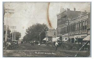 RPPC Street Scene Downtown HEBRON NE Nebraska Real Photo Postcard