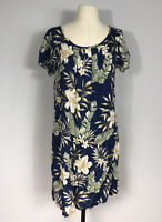 Nani Hawaii Dark Blue Multicolor Floral Print Rayon Short Sleeve Dress Women's M