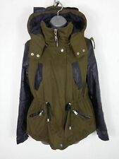 WOMENS ZARA KHAKI/FAUX LEATHER ZIP UP HOODED WINTER PARKA COAT JACKET UK S SMALL