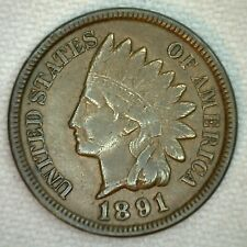 1891 Indian Cent 1c One Cent Bronze Very Fine