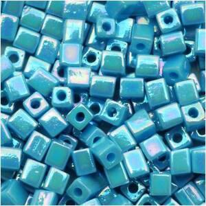 """Miyuki 4mm Cube Beads """"Opaque Light Blue AB"""" #4132 10Gr"""