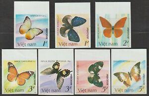 1987 Vietnam Stamps Butterflies Collection Scott # 1693-1699 Imperf MNH
