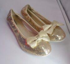 Diesel Kids Paillette Flat Ballet Shoes- Gold UK 2.5 EU 35 CH06 84