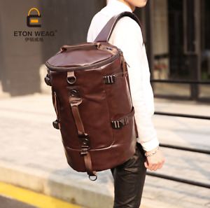 Large New Men PU Leather Duffle Gym Luggage Bag Backpack Shoulder School Bag