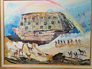 Original Morris Katz Oil Painting on Board Noahs Ark 1990 24 x 18 Framed