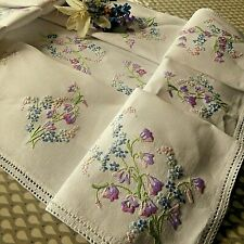 VINTAGE HAND EMBROIDERED LINEN TABLECLOTH-BEAUTIFUL, DELICATE LITTLE FLOWERS