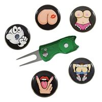 Switchblade golf divot tool with obscene gesture golf ball marker 5 pack - Green