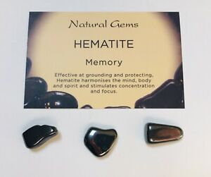 3 Hematite Tumblestones 10-20mm with free organza bag and crystal  card