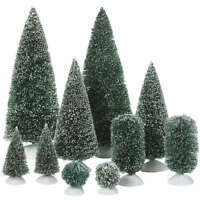 Dept 56 Christmas Village Bag-O-Frosted Topiaries Small Trees Accessory 52996