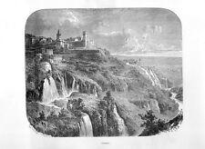 Stampa antica TIVOLI veduta panoramica campagna di Roma 1877 Old print Rome