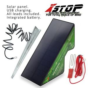 1km ALL-IN-ONE SOLAR ELECTRIC FENCE ENERGISER UNIT PANEL POWERED + STAKE CE