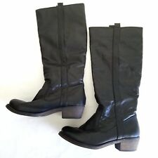DIBA Black Vegan Leather Knee-High Riding Boots- Size 6