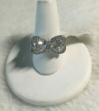 New WIth Tags BBJ CZ Sterling Silver Heart Bow Shaped Ring Size 6