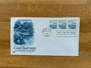 USA US 1987 FDC ART CRAFT TRANSPORTATION COIL STAMP 10 CENT CANAL BOATS HORSES