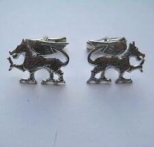 Sterling Silver Welsh Dragon Gents swivel back Cufflinks