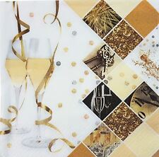 NOUVEL AN doré blanc Célébration 33cm x 33cm 33cm x 33cm 20 x 3 plis