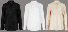 Ex Marks and Spencer Autograph Ramie Silk Pocket Detail Long Sleeve Shirt (X1.26