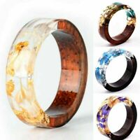 Creative Wooden Resin Ring Flowers Plants Inside Handmade Jewelry Size 6-9