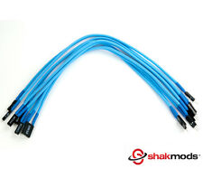 Shakmods Front Panel Light Blue Sleeved Power Reset LED Extension Cable 30cm UK